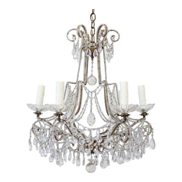 Antique French Beaded Arm Chandelier For Sale
