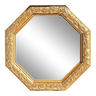 1980s Octagonal Gilt Wood Mirror For Sale