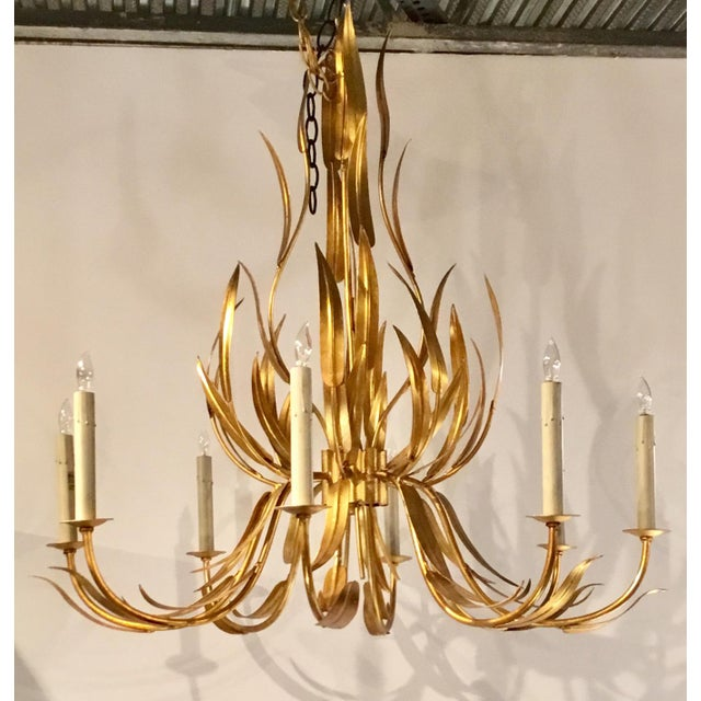Currey & Co. Italian Toile Style Transitional Longleaf Gold Chandelier For Sale In Atlanta - Image 6 of 6