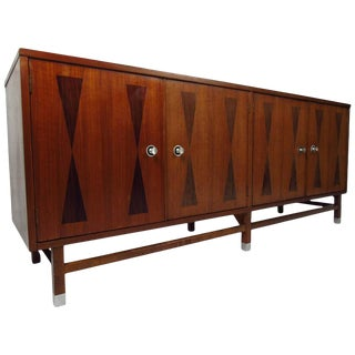 Midcentury American Walnut Credenza by Stanley For Sale