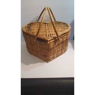 Vintage Bamboo & Raffia Heart Shaped Picnic Basket Preview