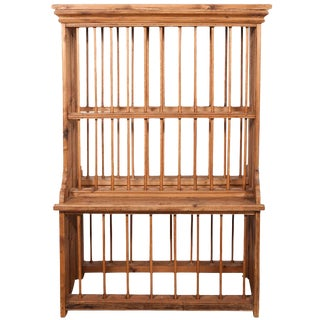 English Standing Pine Plate Rack For Sale
