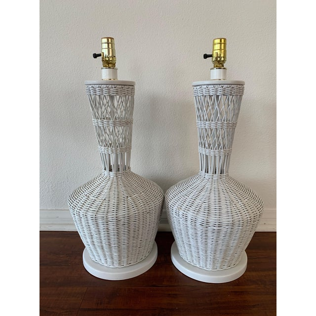 White Wicker Rattan White Lamps - Pair For Sale - Image 8 of 10