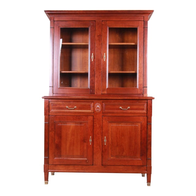 French Provincial Solid Cherry Breakfront Bookcase or Bar Cabinet by Grange For Sale