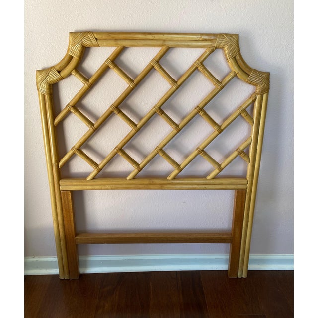 Asian Vintage Chippendale Styled Rattan Twin Headboards - a Pair For Sale - Image 3 of 8