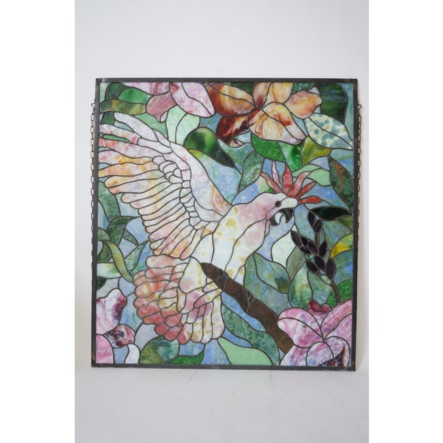 Vintage Abraham '94 Stained Glass Window Decoration of a Tropical Cockatoo For Sale - Image 4 of 13