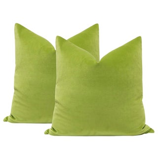 "22"" Lime Green Velvet Pillows - a Pair For Sale"