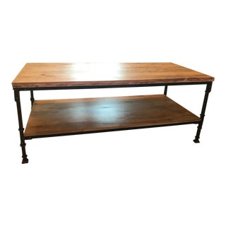 West Elm Style Antique Bronze & Wood Coffee Table For Sale