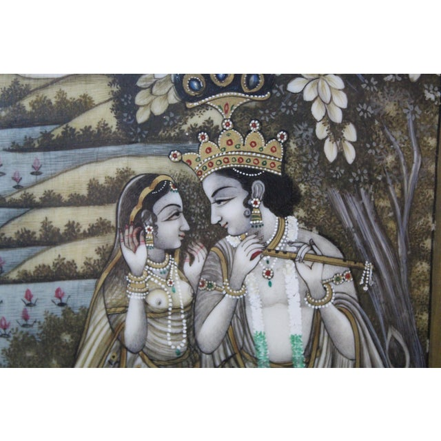 Late 20th Century Persian Man and Woman Porcelain Panel Painting For Sale - Image 5 of 7