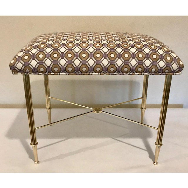 Contemporary French Upholstered Brass With Reeded Legs Bench / Stool For Sale - Image 3 of 13