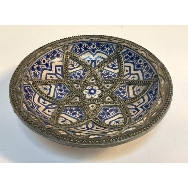 Decorative Moroccan Blue and White Handcrafted Ceramic Bowl From Fez For Sale - Image 4 of 12