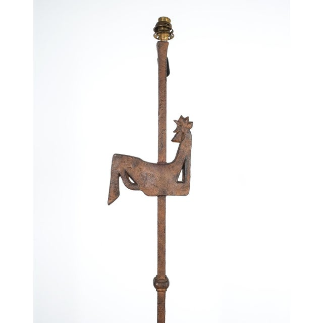 Jean Touret Jean Touret for Atelier Marolles Wrought Iron Floor Lamp, France, Circa 1955 For Sale - Image 4 of 8