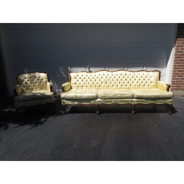 French-Style Yellow Rose Sofa - Image 7 of 8