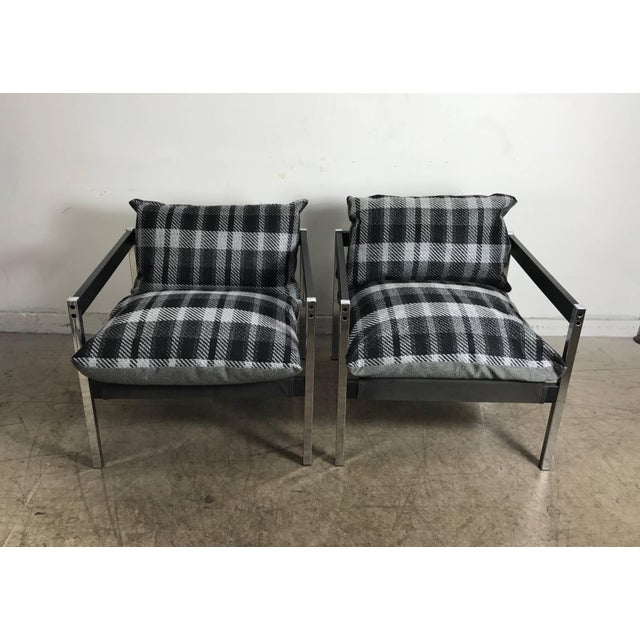 Mid-Century Modern Classic 1970s Bauhaus Style Chrome and Wood Sling Chairs - A Pair For Sale - Image 3 of 9