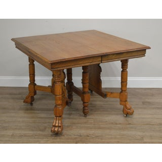 Victorian Antique Golden Oak Square Dining Table With 3 Leaves & North Wind Face Preview