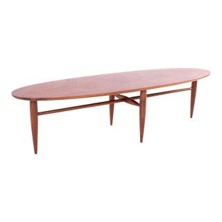 Mersman Mid Century Walnut Surfboard Coffee Table For Sale