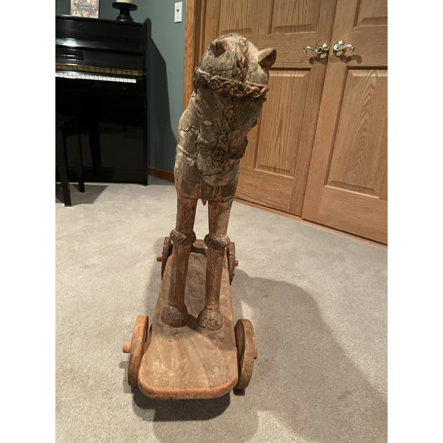 Folk Art Antique Early 19th Century Wood Horse on Wheels For Sale - Image 3 of 9