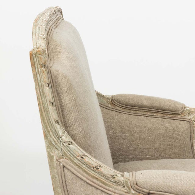 French Louis XVI Style Marquise Loveseat in Natural Linen For Sale - Image 10 of 13