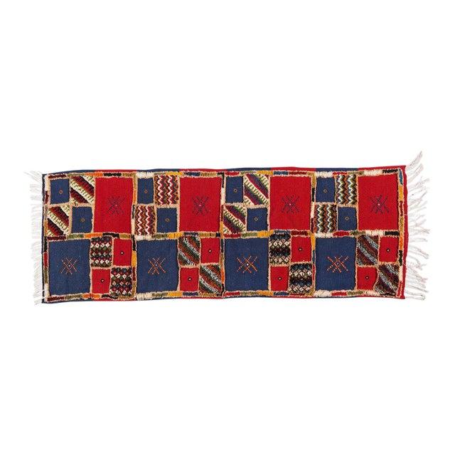 Red Blue Handwoven Moroccan Berber Runner - 2′ × 6′8″ For Sale