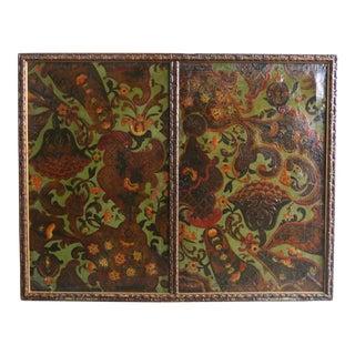 Italian Framed Polychrome Leather Panel