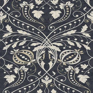 """Lewis & Wood Chateau Guinness Extra Wide 52"""" Damask Wallpaper - 1 Yard For Sale"""