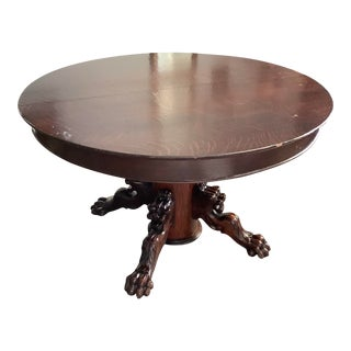 Renaissance Style Round Carved Griffin Pedestal Table For Sale