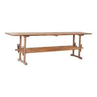 Antique Farmhouse 10' Long Pine Farm Trestle Table For Sale