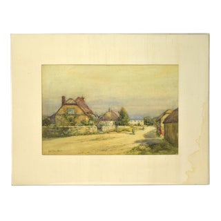 Early 20th Century Antique Alexander MacBride British Village Watercolor Painting For Sale