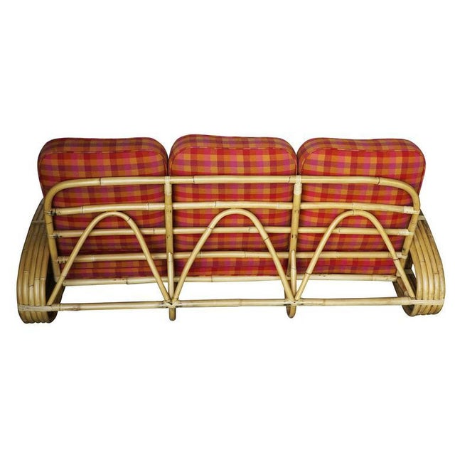 "Restored Rare Five-Strand ""Reverse Pretzel"" Rattan Living Room Set For Sale - Image 5 of 9"