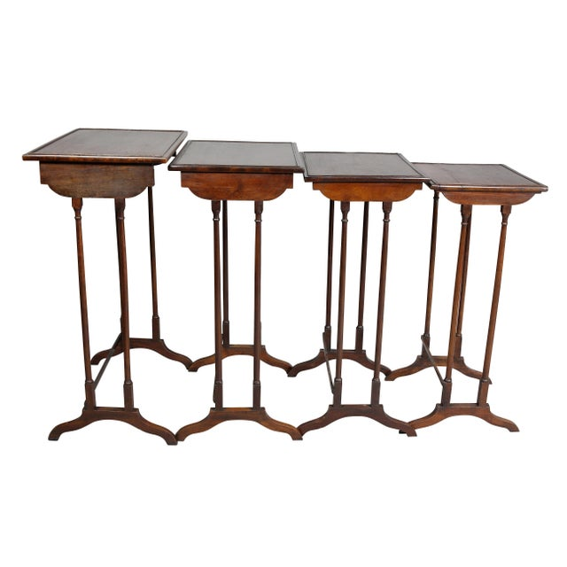 Regency Mahogany Quartetto Tables - Set of 4 For Sale - Image 10 of 12