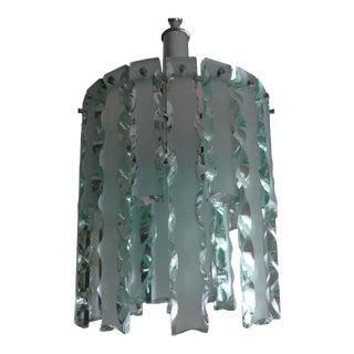 1960's Italian Zero Quattro-Fontana Arte Frosted Glass Chandelier For Sale