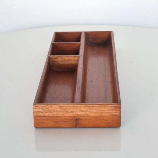 Vintage Mahogany Wood Desk Organizer Tray Valet Box Mexico 1950s For Sale - Image 4 of 7