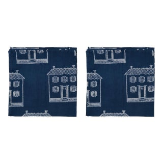 Countryside Cottage Napkins, Indigo - A Pair For Sale