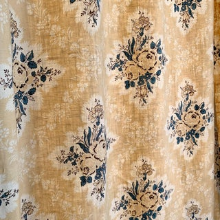 French Printed Linen Yellow Ground And Blue Rose Curtain For Sale