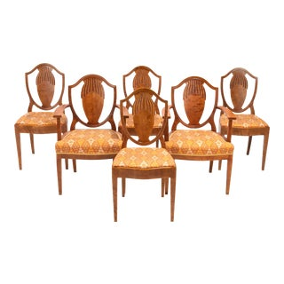 Swedish Grace Period Neoclassical Dining Chairs A. B. Nordiska Kompaniet Attributed to Carl Bergsten 1919 - a Set of 6 For Sale