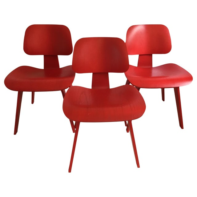 Eames DCW From Herman Miller Red Dining Chair For Sale - Image 5 of 9