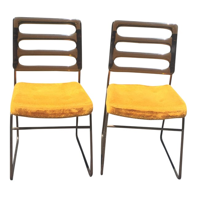 Mid-Century Chrome Craft Amber Lucite & Orange Chairs - A Pair - Image 1 of 10