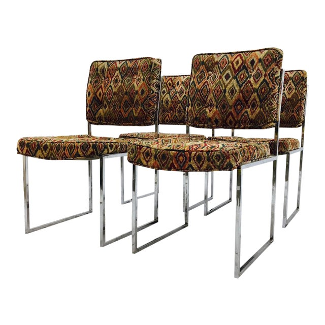 Vintage Mid-Century Modern Chrome Frame Chairs - Set of 4 For Sale