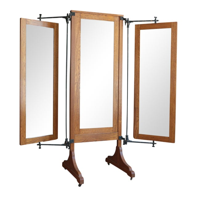 Antique Oak Tri-Fold Dressing Mirror - Image 1 of 4