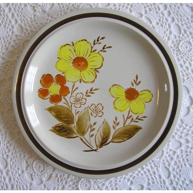1960s 1970s Vintage Japan Stoneware Floral Serving Platter For Sale - Image 5 of 5