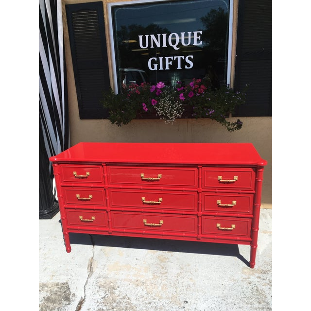 1970s Vintage Henry Link Red Lacquered Faux Bamboo Dresser For Sale In Tampa - Image 6 of 6