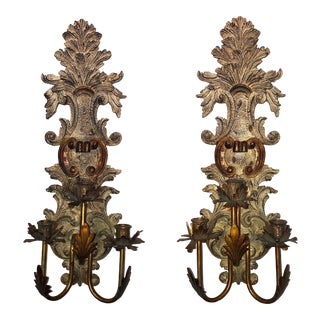 Vintage Mid-Century Cast Faux Bois Provincial Sconces - A Pair For Sale