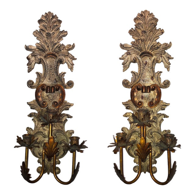 Vintage Mid-Century Cast Faux Bois Provincial Sconces - A Pair For Sale
