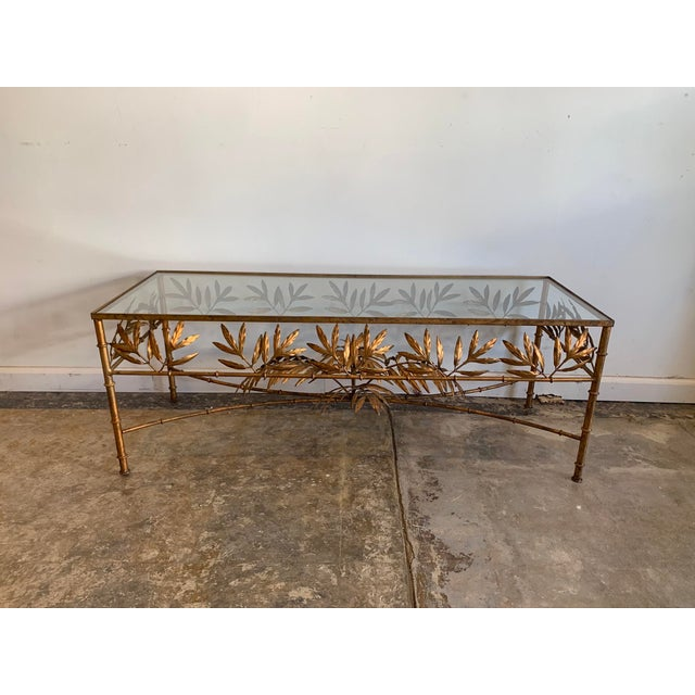 Metal Vintage Hollywood Regency Gilded Metal Coffee Table W/Bamboo Leaf Design & Glass Top For Sale - Image 7 of 7