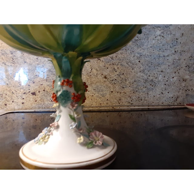 Mid 20th Century Vintage Italian Mottahedeh Green and Blue Epergne For Sale - Image 5 of 8