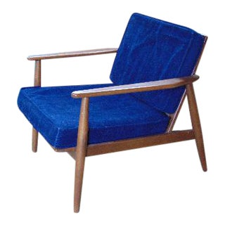 Vintage Baumritter Blue Cushion Teak Armchair