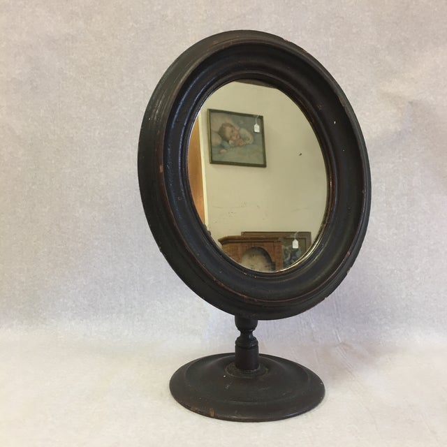 Brown Vintage Mirror in Wooden Frame on Stand For Sale - Image 8 of 8