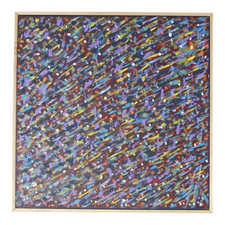 Square Abstract Modern Painting Artist Signed Herman Hershel Kahan For Sale