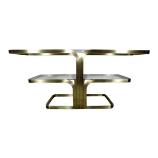 1980s Post Modern Design Institute of America Brushed Metal & Glass Console Table For Sale