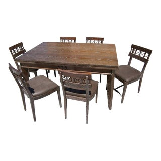 1940s French Cerused Oak Dining Set Designed by Charles Dudouyt For Sale